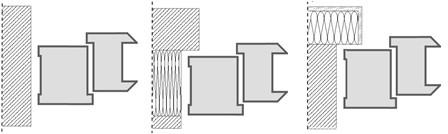 Rys. 3 Usytuowanie ościeżnic w ościeżu ścian różnej konstrukcji: w ścianie pełnej jednowarstwowej, w ścianie warstwowej z ociepleniem wewnętrznym [z węgarkiem], w ścianie pełnej z ociepleniem zewnętrznym [z węgarkiem].